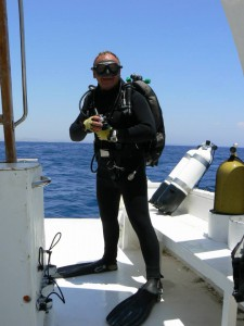 Chris on Kalypso2 wearing divesuit
